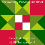 "Strawberry Patch Quilt Block Free Pattern for a 12"" quilt block at www.QuiltTherapy.com!"