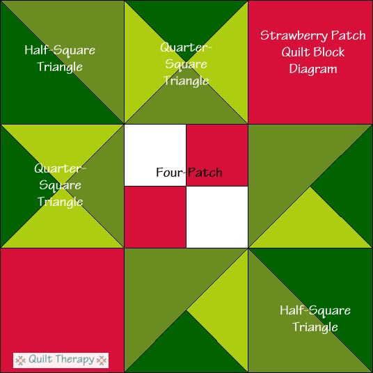 "Strawberry Patch Quilt Block Diagram Free Pattern for 12"" finished quilt block at QuiltTherapy.com!"