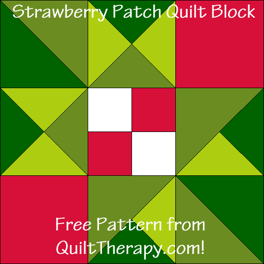 "Strawberry Patch Quilt Block Free Pattern for a 12"" quilt block at QuiltTherapy.com!"