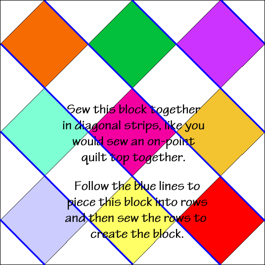 """Checkerboard Quilt Block Diagram Free Pattern for 12"""" finished quilt block at QuiltTherapy.com!"""