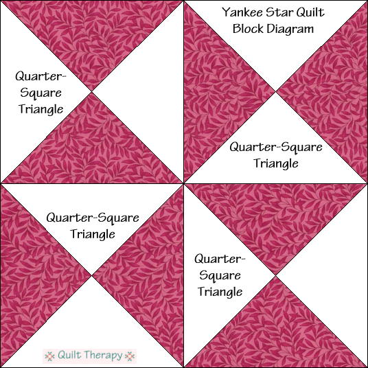"Yankee Star Block Diagram Free Pattern for 12"" finished quilt block at QuiltTherapy.com!"