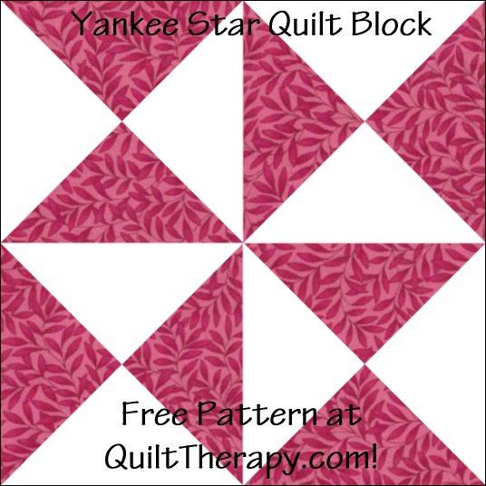 "Yankee Star Quilt Block Free Pattern for a 12"" quilt block at QuiltTherapy.com!"