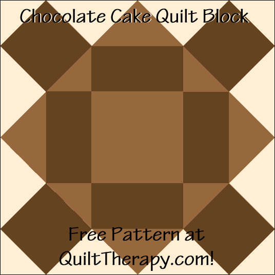 "Chocolate Cake Quilt Block Free Pattern for a 12"" quilt block at QuiltTherapy.com!"