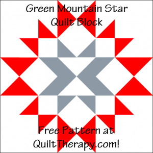 """Green Mountain Star Quilt Block Free Pattern for a 12"""" quilt block at QuiltTherapy.com!"""