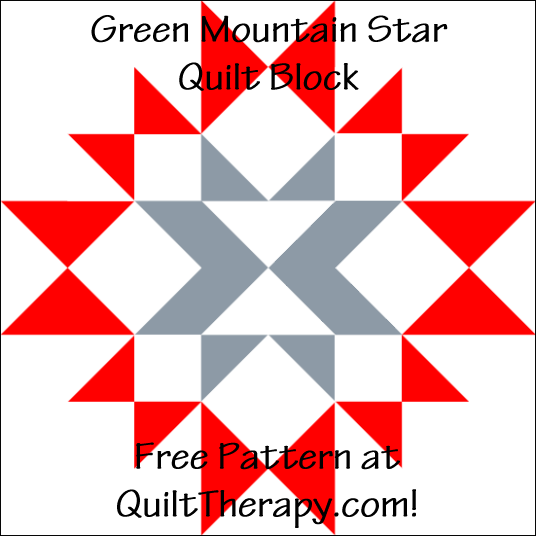 "Green Mountain Star Quilt Block Free Pattern for a 12"" quilt block at QuiltTherapy.com!"