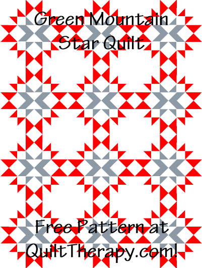 "Green Mountain Star Quilt Block Free Pattern for a 36"" x 48"" quilt at QuiltTherapy.com!"