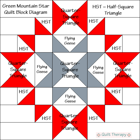 "Green Mountain Star Quilt Block Diagram Free Pattern for 12"" finished quilt block at QuiltTherapy.com!"