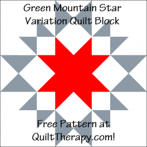 """Green Mountain Star Variation Quilt Block Free Pattern for a 12"""" quilt block at QuiltTherapy.com!"""
