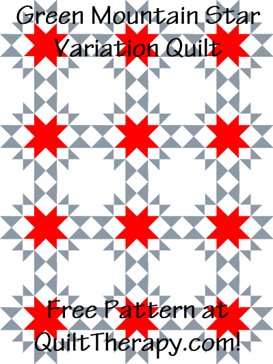"""Green Mountain Star Variation Quilt Block Free Pattern for a 36"""" x 48"""" quilt at QuiltTherapy.com!"""