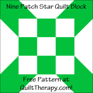 """Nine Patch Star Quilt Block Free Pattern for a 12"""" quilt block at QuiltTherapy.com!"""