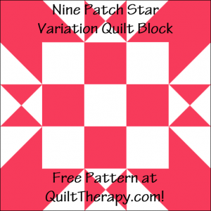 """Nine Patch Star Variation Quilt Block Free Pattern for a 12"""" quilt block at QuiltTherapy.com!"""