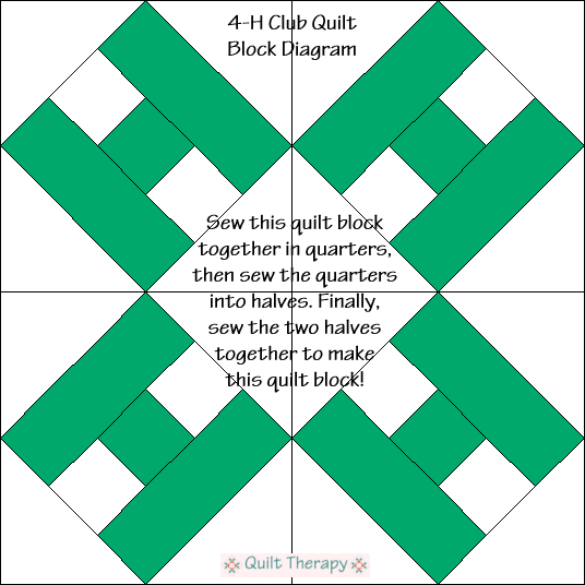 "4-H Club Quilt Block Diagram Free Pattern for 12"" finished quilt block at QuiltTherapy.com!"