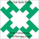 """4-H Club Quilt Block Free Pattern for a 12"""" quilt block at QuiltTherapy.com!"""