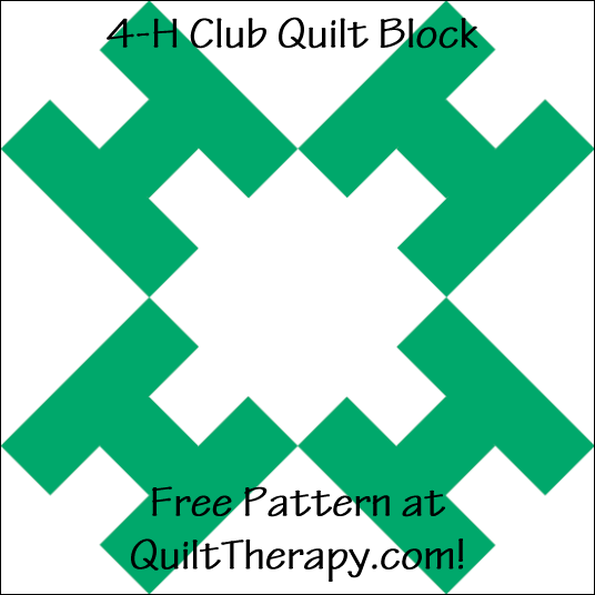 "4-H Club Quilt Block Free Pattern for a 12"" quilt block at QuiltTherapy.com!"