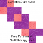 "Confetti Quilt Block Free Pattern for a 12"" quilt block at QuiltTherapy.com!"
