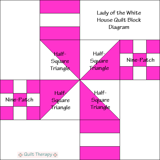 """Lady of the White House Quilt Block Diagram Free Pattern for 12"""" finished quilt block at QuiltTherapy.com!"""