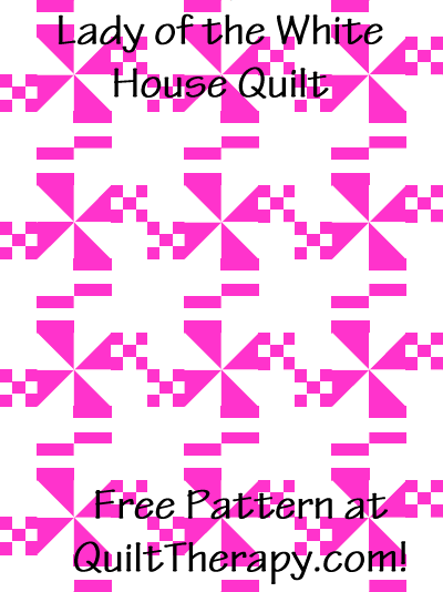 """Lady of the White House Quilt Free Pattern for a 36"""" x 48"""" quilt at QuiltTherapy.com!"""