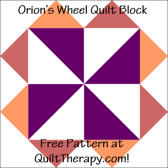 "Orion's Wheel Quilt Block Free Pattern for a 12"" quilt block at QuiltTherapy.com!"