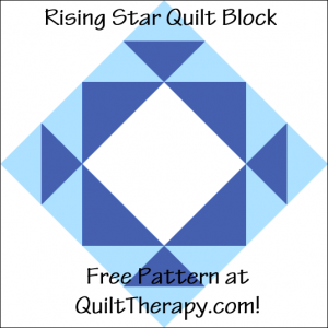 """Rising Star Quilt Block Free Pattern for a 12"""" quilt block at QuiltTherapy.com!"""