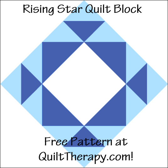 "Rising Star Quilt Block Free Pattern for a 12"" quilt block at QuiltTherapy.com!"