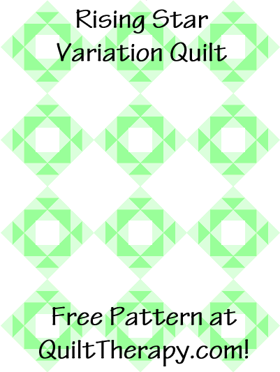 "Rising Star Variation Quilt Block Free Pattern for a 36"" x 48"" quilt at QuiltTherapy.com!"