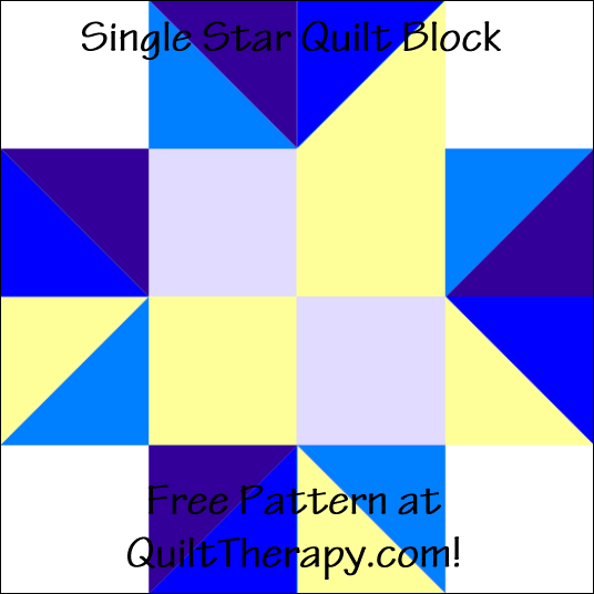 "Single Star Quilt Block Free Pattern for a 12"" quilt block at QuiltTherapy.com!"