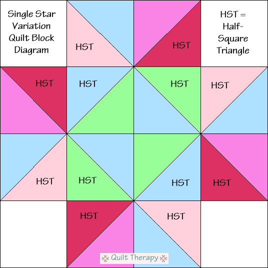 "Single Star Variation Quilt Block Diagram Free Pattern for 12"" finished quilt block at QuiltTherapy.com!"