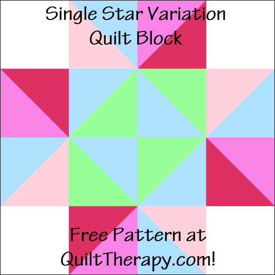 "Single Star Variation Quilt Block Free Pattern for a 12"" quilt block at QuiltTherapy.com!"