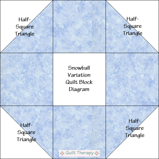 "Snowball Variation Quilt Block Diagram Free Pattern for 12"" finished quilt block at QuiltTherapy.com!"