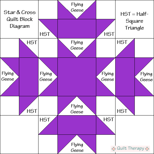 "Star & Cross Quilt Block Diagram Free Pattern for 12"" finished quilt block at QuiltTherapy.com!"