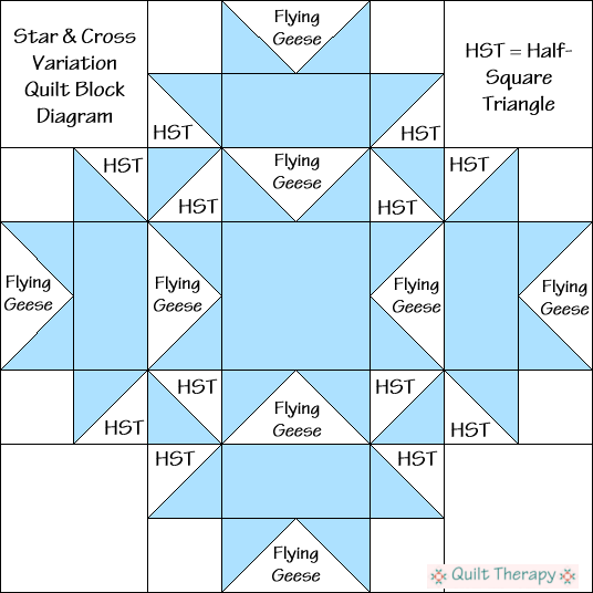 "Star & Cross Variation Quilt Block Diagram Free Pattern for 12"" finished quilt block at QuiltTherapy.com!"