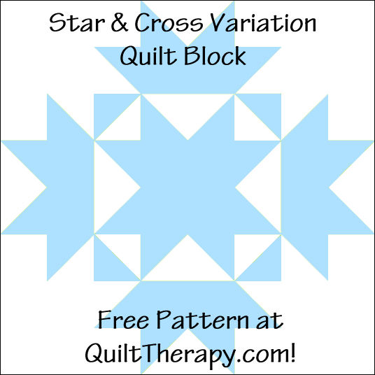 "Star & Cross Variation Quilt Block Free Pattern for a 12"" quilt block at QuiltTherapy.com!"