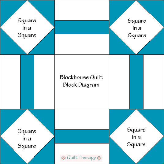 "Blockhouse Quilt Block Diagram Free Pattern for 12"" finished quilt block at QuiltTherapy.com!"