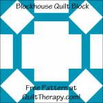 """Blockhouse Quilt Block Free Pattern for a 12"""" quilt block at QuiltTherapy.com!"""