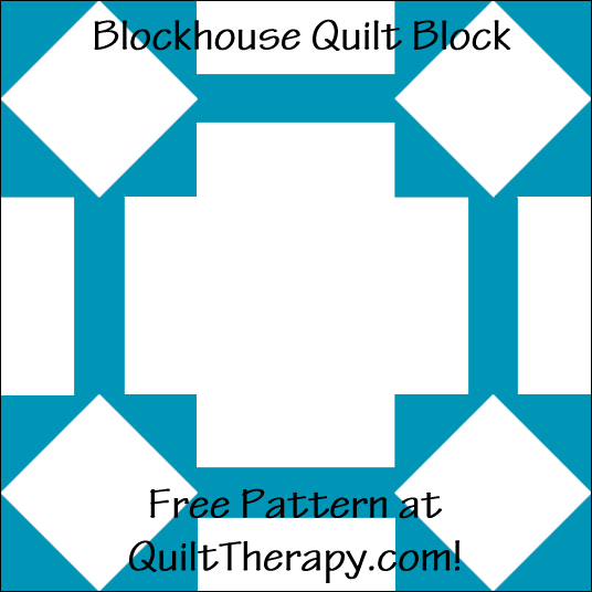 "Blockhouse Quilt Block Free Pattern for a 12"" quilt block at QuiltTherapy.com!"