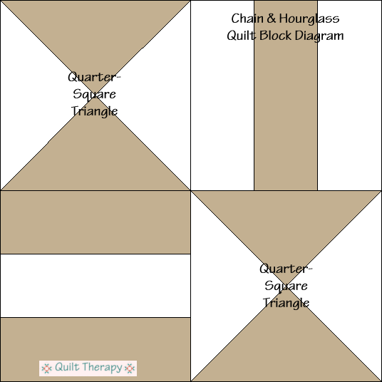 """Chain & Hourglass Quilt Block Diagram Free Pattern for 12"""" finished quilt block at QuiltTherapy.com!"""
