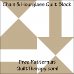 """Chain & Hourglass Quilt Block Free Pattern for a 12"""" quilt block at QuiltTherapy.com!"""