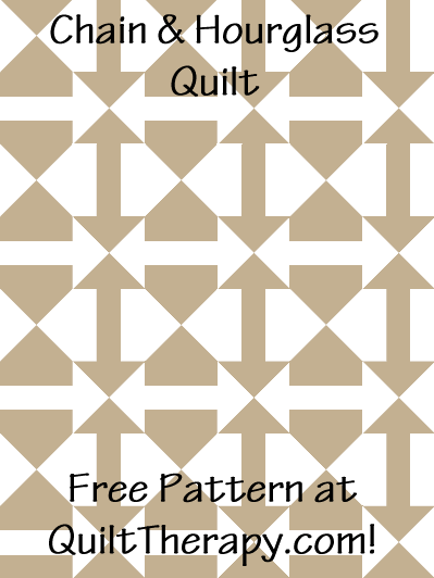 """Chain & Hourglass Quilt Block Free Pattern for a 36"""" x 48"""" quilt at QuiltTherapy.com!"""