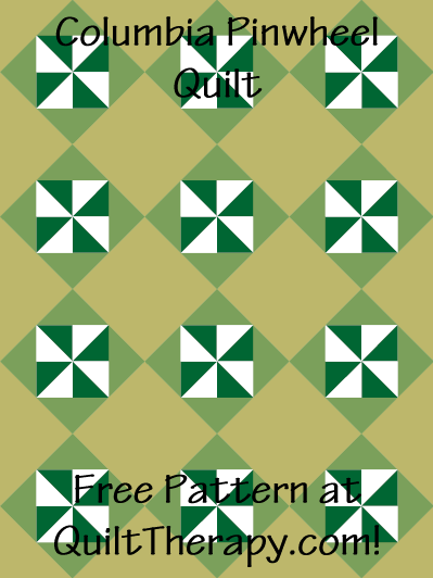 "Columbia Pinwheel Quilt Block Free Pattern for a 36"" x 48"" quilt at QuiltTherapy.com!"