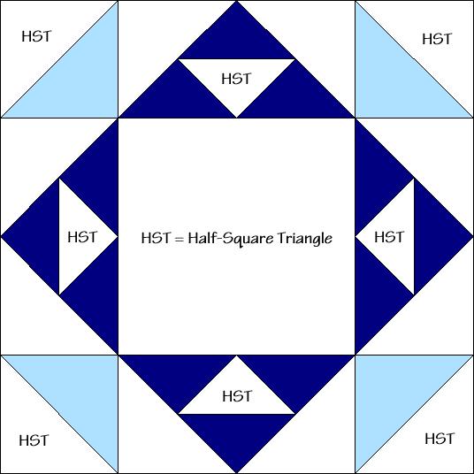 Flower Pot Quilt Block Diagram