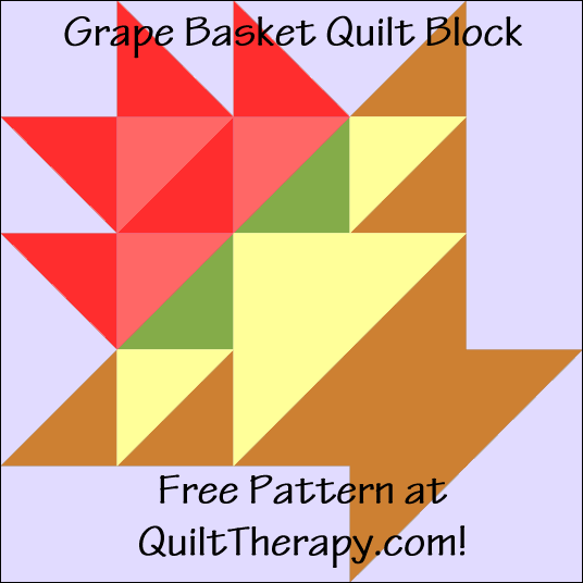 "Grape Basket Quilt Block Free Pattern for a 12"" quilt block at QuiltTherapy.com!"