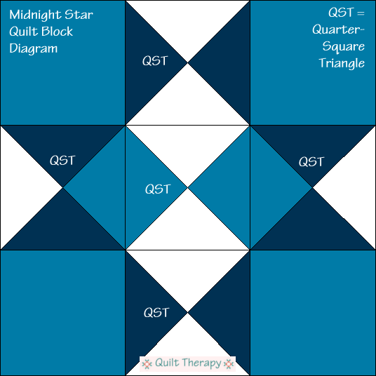 """Midnight Star Quilt Block Diagram Free Pattern for 12"""" finished quilt block at QuiltTherapy.com!"""