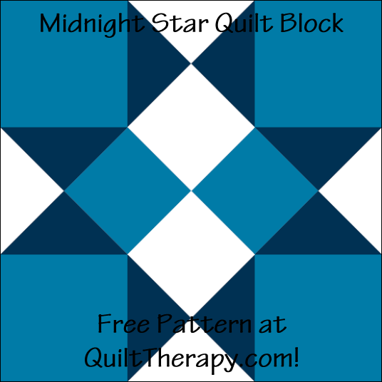 """Midnight Star Quilt Block Free Pattern for a 12"""" quilt block at QuiltTherapy.com!"""