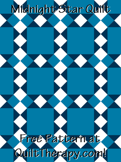 """Midnight Star Quilt Block Free Pattern for a 36"""" x 48"""" quilt at QuiltTherapy.com!"""