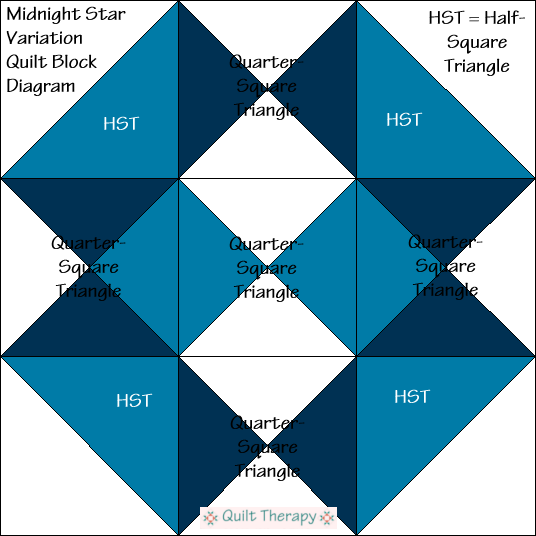 """Midnight Star Variation Quilt Block Diagram Free Pattern for 12"""" finished quilt block at QuiltTherapy.com!"""