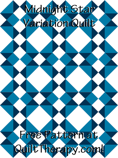 """Midnight Star Variation Quilt Block Free Pattern for a 36"""" x 48"""" quilt at QuiltTherapy.com!"""