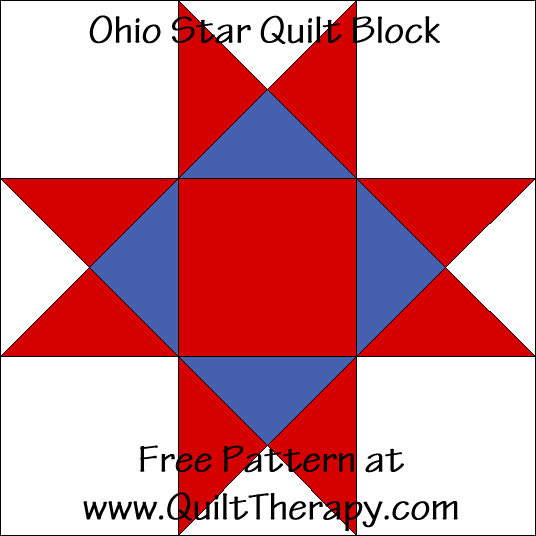 Ohio Star Quilt Block Free Instructions at QuiltTherapy.com