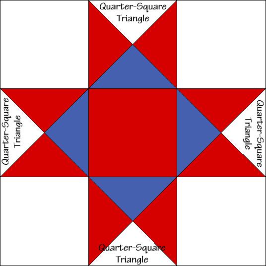 Ohio Star Quilt Block Diagram with Free Instructions at QuiltTherapy.com