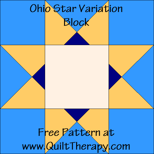 Ohio Star Variation Quilt Block with Free Instructions at QuiltTherapy.com