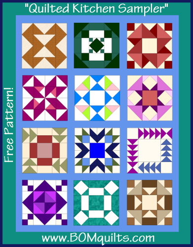 """Quilted Kitchen Sampler"" Free quilt pattern from QuiltTherapy.com and BOMquilts.com!"
